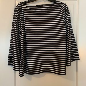 Black and White Striped Boat Neck Shirt